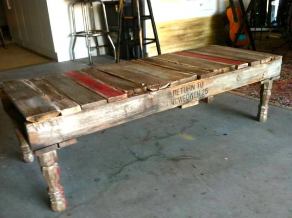 Home-made Repurposed Pallet Coffee Table Design Sustainability