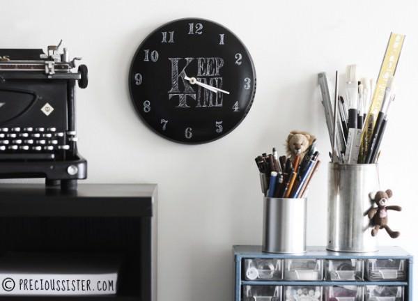 Diy: Chalkboard Clock From Pot Lid DIY + Crafts