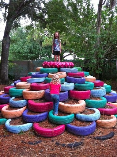 Recycled Tires in Kid's Garden ! Sustainability