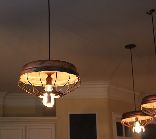 Chicken Feeder Upcycled Into Pendant Light by Southern Restoration Design Sustainability
