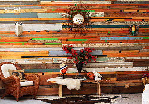 Salvaged Wood Wall Architecture + Interiors Sustainability