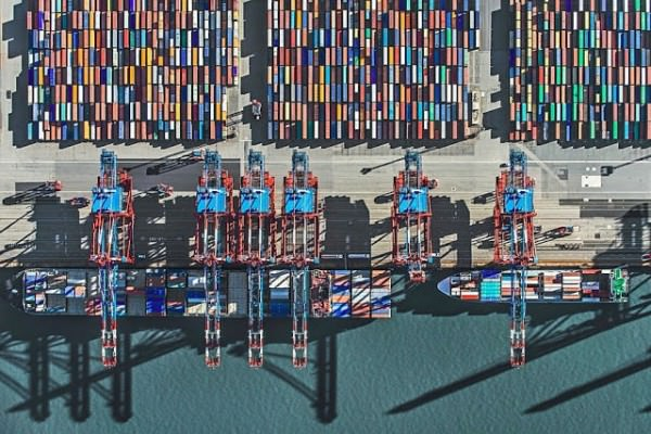 Aerial Photographs of Shipping Container Terminals by Bernhard Lang Photography