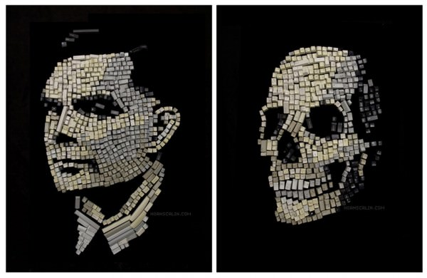 Portraits of Great Scientists Made From Everyday Materials Art + Graphics
