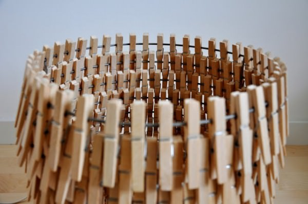 Creative Pendant & Floor Lamps Made from Repurposed Wooden Clothespins Design Sustainability