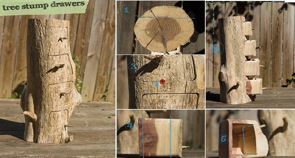 Diy Tree Stump Drawers DIY + Crafts