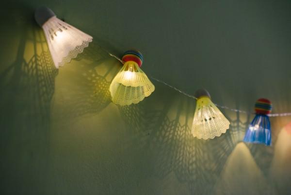 Diy: Badminton Shuttlecock Upcycled Into Lights Garland DIY + Crafts