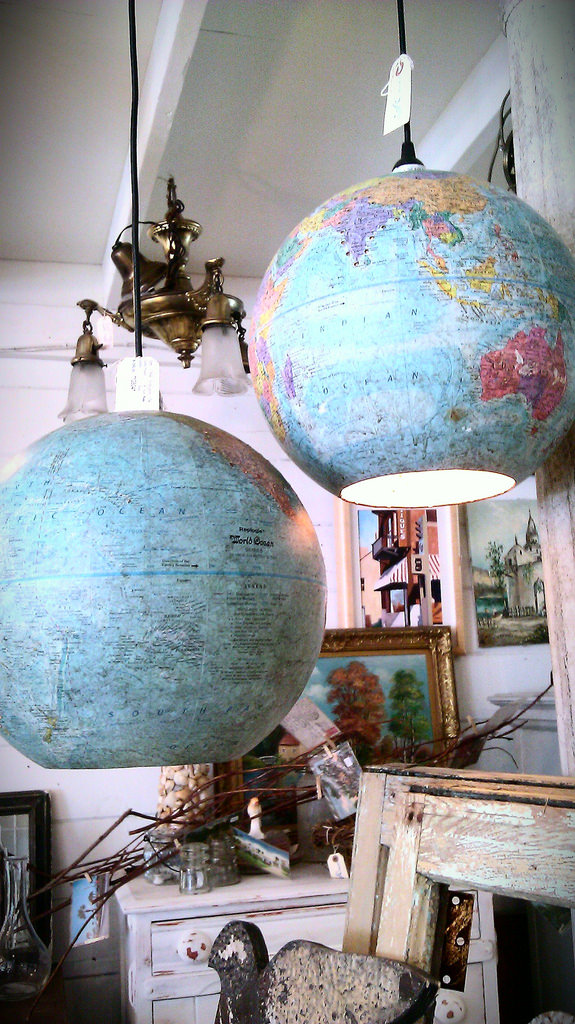 Old Globes Turned into Pendant Lamps Architecture + Interiors