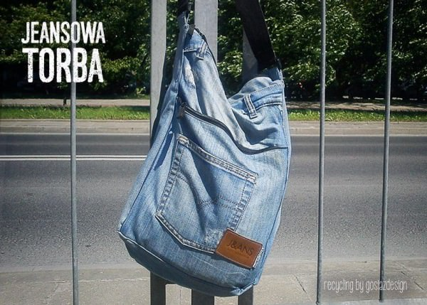 City Bag with Old and Recycled Jeans Art + Graphics