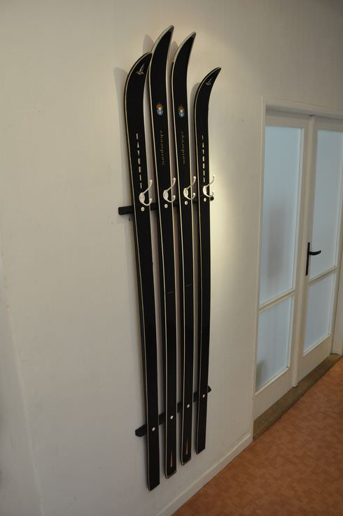 Old Skis Repurposed into Coat Hanger Architecture + Interiors DIY + Crafts