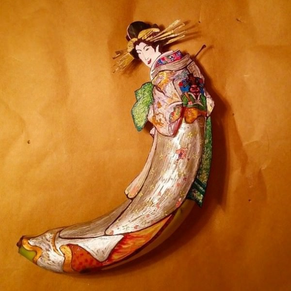 Cartoon & Characters Painted On Bananas by Elisa Roche Art + Graphics Creative Fooding