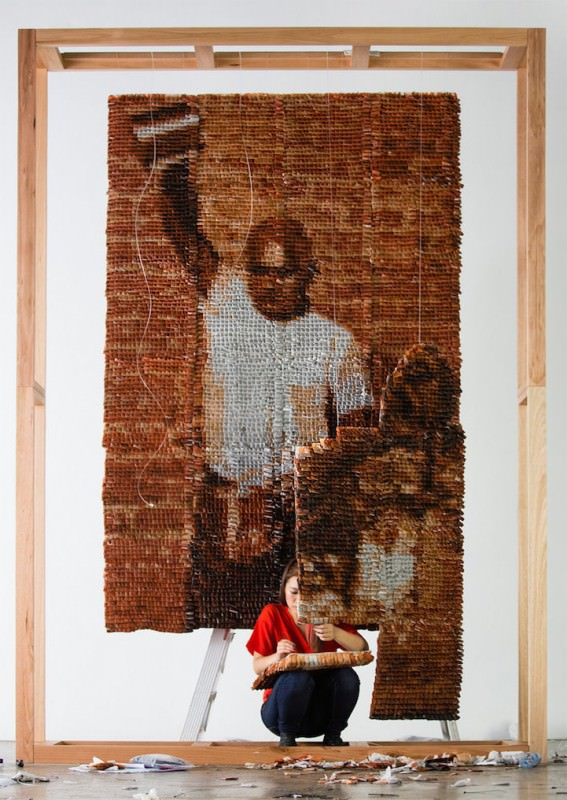 Amazing Portrait Made of 20,000 Tea Bags by Red Hong Yi Art + Graphics