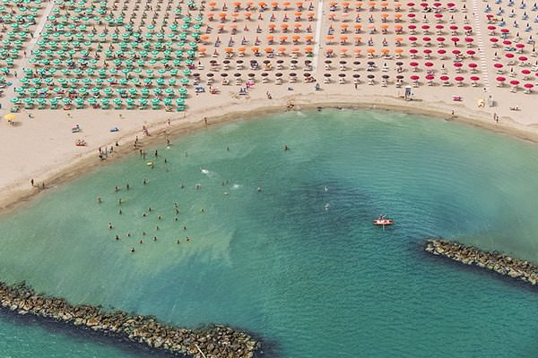 Amazing Aerial Shots of Italy Crowded Beach by Bernhard Lang Photography
