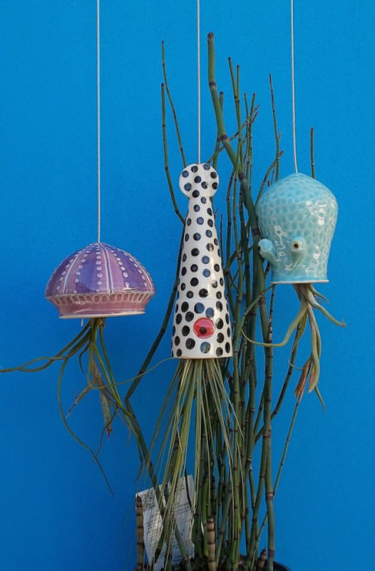 Ceramic Cephalopod and Jellyfish Air Plant Holders By Cindy Et James Searles Design