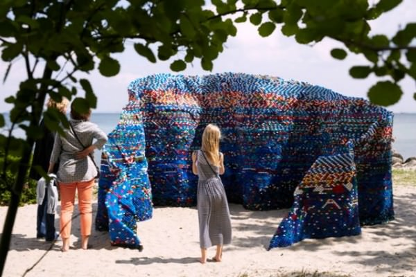 Waves Structure out of 70,000 Discarded Plastic Bottle Caps Byarunkumar H.g. Art + Graphics Sustainability