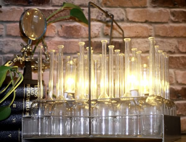 Repurposed Table Lamp Made From Vintage Test Beakers Design