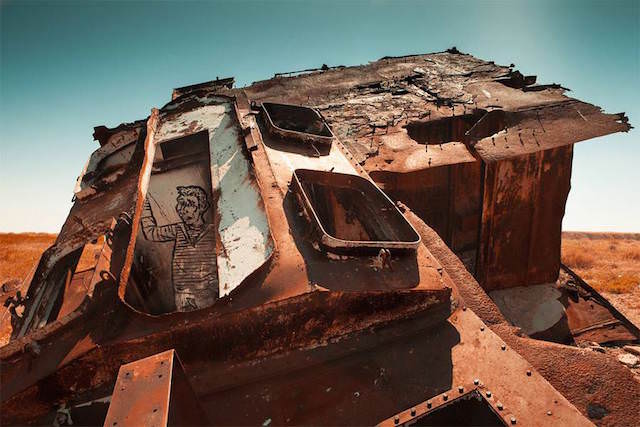 Abandoned Ship Graveyard Of The Aral Sea by Elene Veilleux Photography