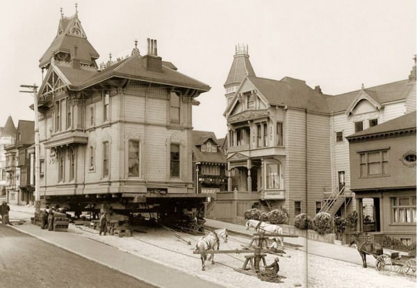 Moving A House In San Francisco In 1908 Photography