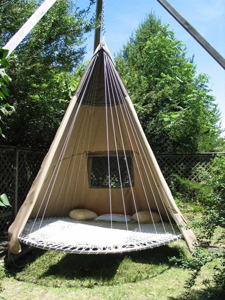 Repurposed Trampoline in Teepee Architecture + Interiors