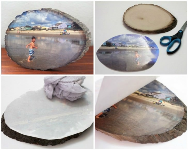 Diy: Your Favorites Pictures on a Wood Slice by Photo Transfer DIY + Crafts