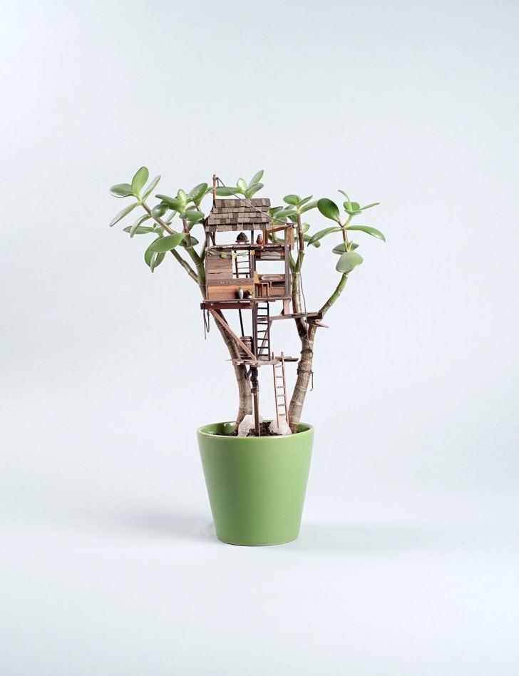 Tiny Huts in Houseplants Art + Graphics