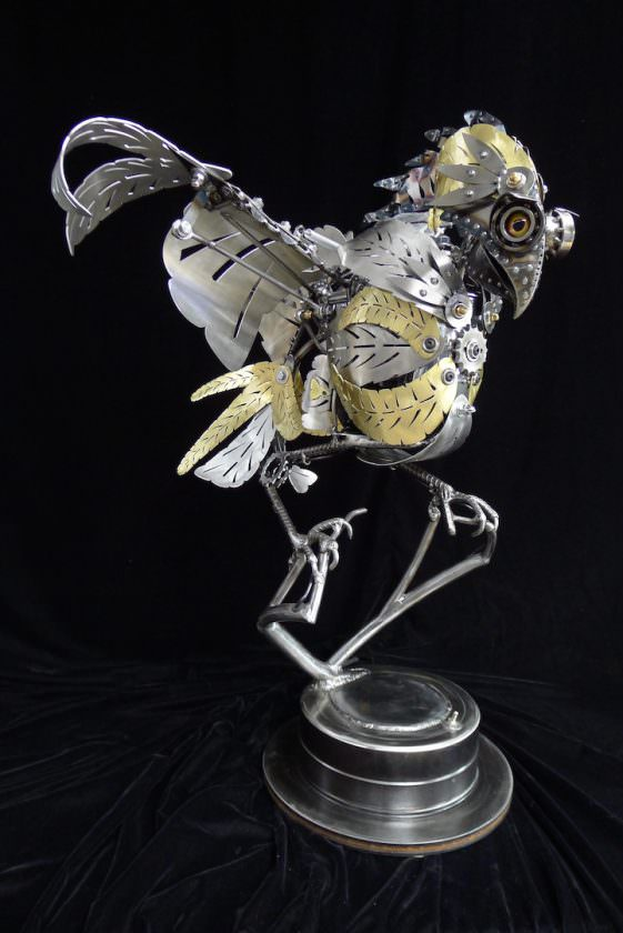 Kinetic Animal Sculptures from Recovered Metal Animals + Nature Art + Graphics
