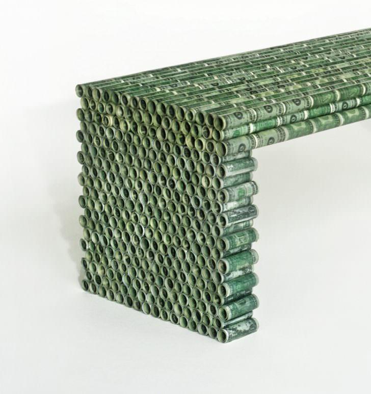 Design Household Furniture Made From Coins & Dollar Bills by Rolf Bruggink Design