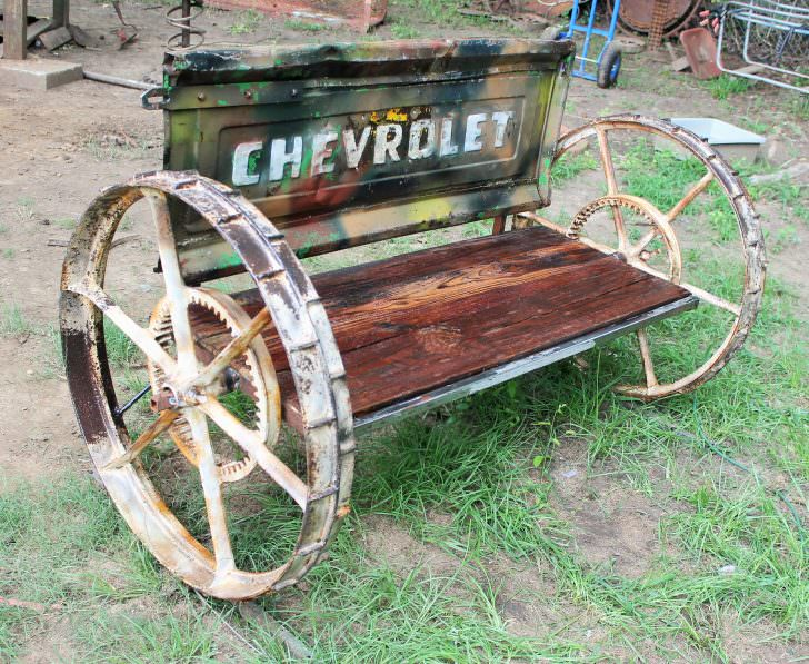 Recycled Car Parts into Vintage Benches DIY + Crafts
