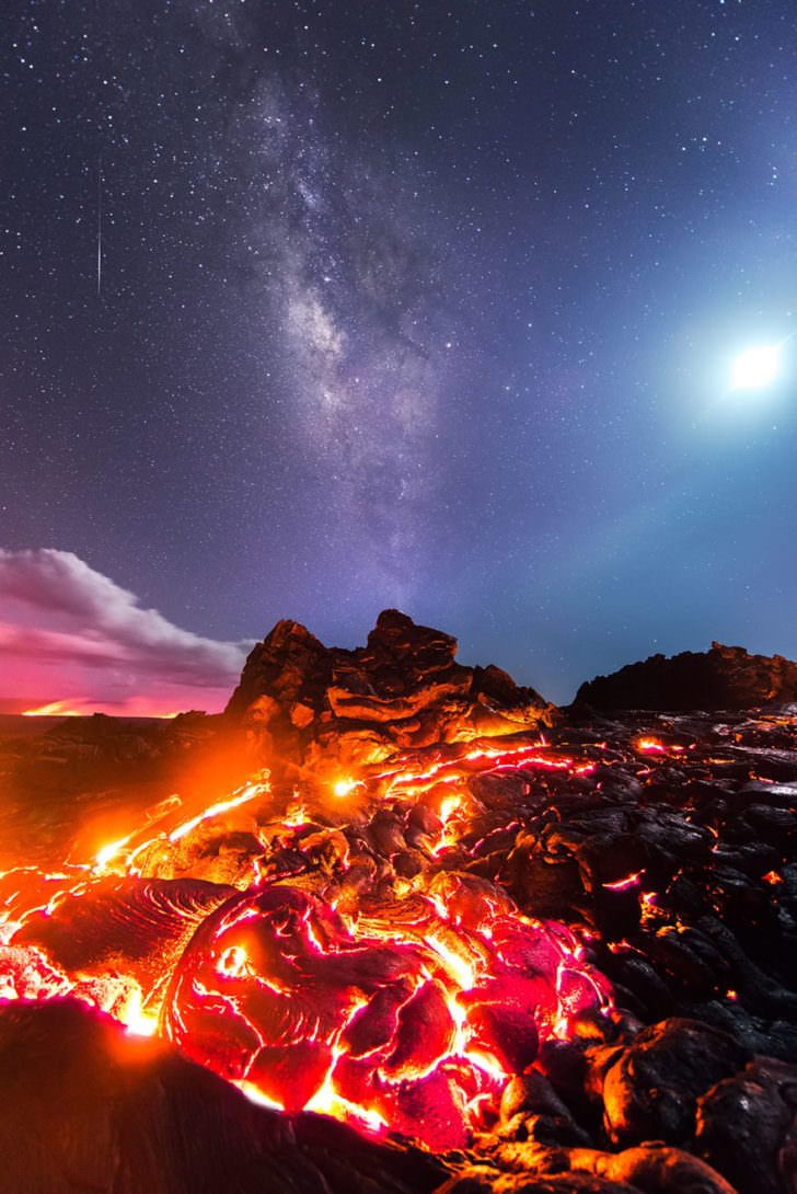 Meteorite, Milky Way, Moon and Volcano on the Same Incredible Picture Photography