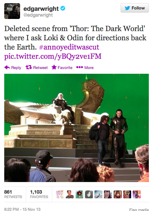 """Edgar Wright Reveals A Totally Super Important Deleted Scene From """"thor: The Dark World"""" Photography"""