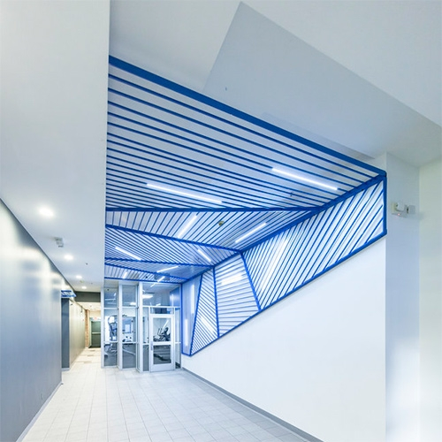 Synecdoche's Bright Blue Church Street Lobby Installation Of Paneled Aluminum Bars With Led Back Lights. This Canopy And… – #63191 Design