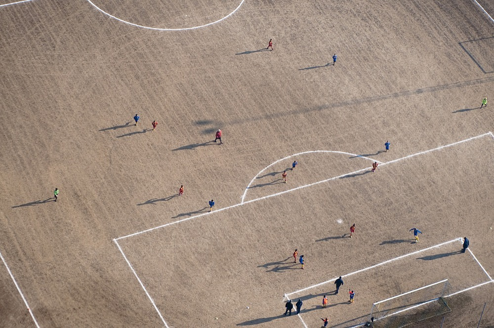 The Soccer Stadium Lying On Two Hemispheres Photography