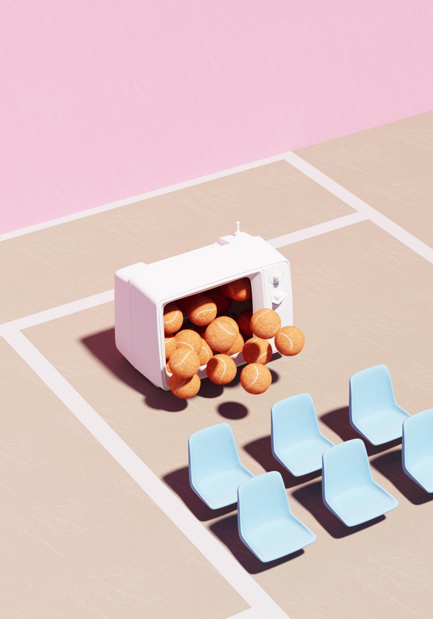 Surreal Tennis Composition with Dreamy Tones – Fubiz Media Design