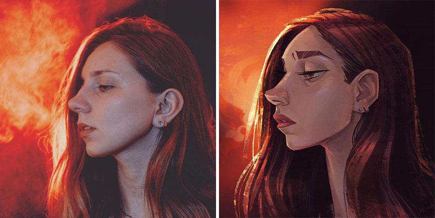 Photographer Asked Artists To Draw Their Portrait Photos – Fubiz Media Design